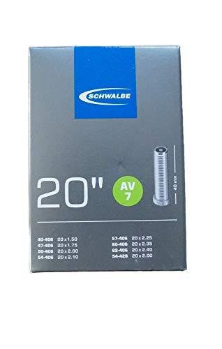 Schwalbe Unisex– Erwachsene Fahrradschlauch AV7 40/62-406 EK AGV 40 mm Schlauch, schwarz, 20