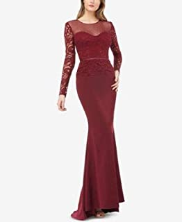 JS COLLECTION Womens Burgundy Illusion Lace Sleeve Gown Long Sleeve Illusion Neckline Full-Length Hi-Lo Evening Dress US Size: 14