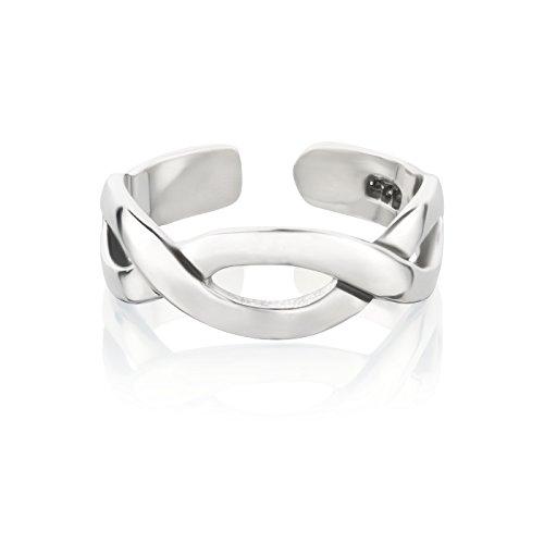 Zehenring aus 925 Sterling Silber als Fußschmuck oder Fingerring für Damen, Herren und Kinder, offener Midi Ring, verstellbar, Modell 26 Infinity