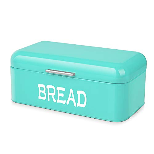 Flexzion Vintage Metal Bread Box for Kitchen Counter, Bread Bin Storage Container Steel Countertop Space Saving, for Homemade Machine Bread Refrigerator Travel Camping Bakery Cafe, Turquoise