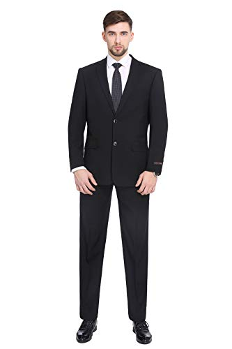 PL Men's Two-Piece Classic Fit Office 2 Button Suit Jacket & Pleated Pants Set,Black,44 Regular / Waist 38