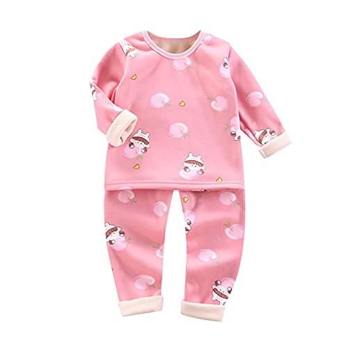 Toddler Kids Clothes Pajamas Unisex Baby Girls Warm Cartoon T-Shirt Tops Soft Sleepwear Pants Set 1-4 Years 2pcs Sets