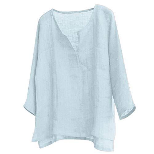 Ssmeng, maglietta da uomo in lino Henley, a maniche lunghe, stile casual, hippie, in cotone, da spiaggia, comodo e traspirante Blu M