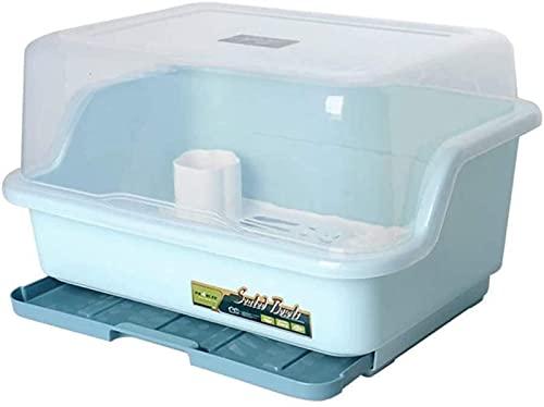 Rejilla de Drenaje de Cocina de conveniencia, Rejilla para secar Platos y Tabla de Drenaje con Tapa, vajilla multifunción, Organizador de Frutas (Azul), Estante Duradero