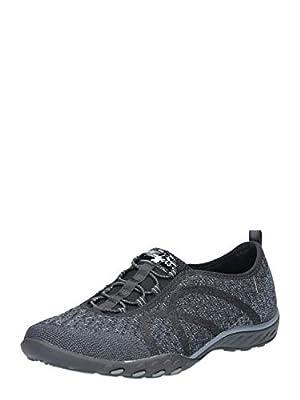 Skechers Sport Women's Breathe Easy Fortune Fashion Sneaker,Black Knit,9 M US