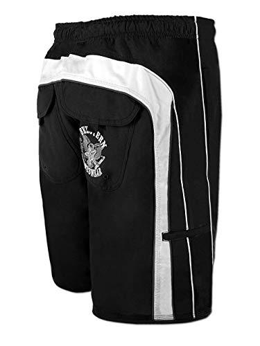 SEESTERN Herren Boardshorts Badeshorts mit Gummizug hinten& Eingrifftaschen Gr.L(34) mittellang 49cm /FBA 1844 Schwarz L