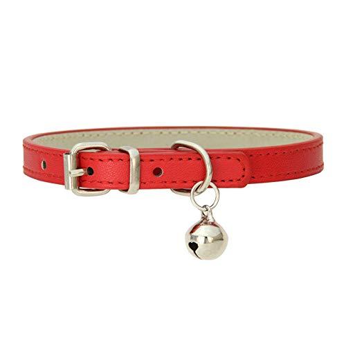 Collar De Gato Collar Reflectante Collar De Perro Ajustable para Mascotas Collares De Gato De Cuero con Campanas Y Correa Adecuados para Perros Y Gatos 30,Red