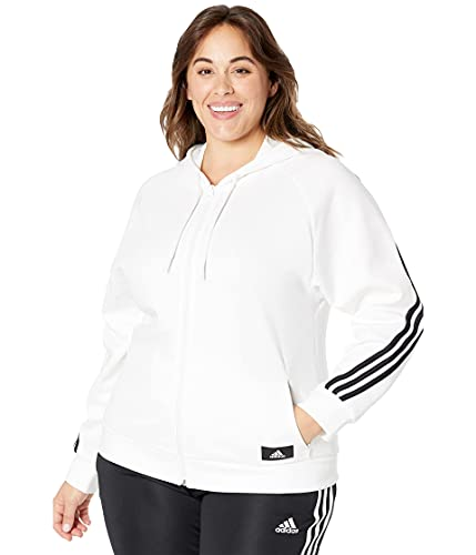 adidas Women's Standard Sportswear Future Icons 3-Stripes Hooded Tracktop, White, X-Large