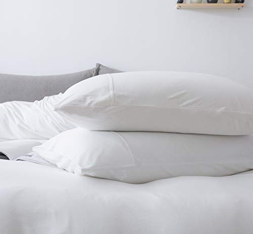 """Household 100% Jersey Cotton Pillowcase 20""""x30""""-Light Weight, Comfortable, Extremely Durable Set of 2 (White, Standard Pillowcases)"""