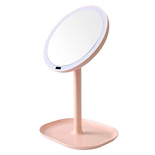 HYZXK Espejo Especial para Maquillaje, Espejo de Maquillaje LED Lámpara de Mesa Interruptor táctil Espejos de Carga USB Cosmético 360 °Regalo de Princesa niña luz Nocturna giratoria, 1X