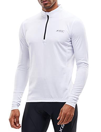 Herren Langarm Radtrikot Fahrradtrikot Radshirt Fahrradshirts Fahrradbekleidung für Männer mit Elastische Atmungsaktive Schnell Trocknen Stoff (White, XXL)