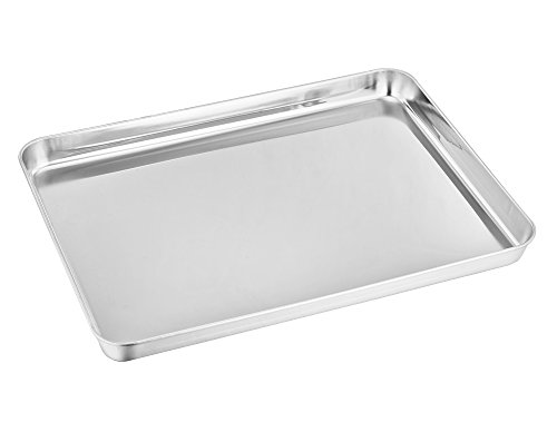 TeamFar Toaster Oven Pan, Stainless Steel Toaster Oven Tray Ovenware, 12.5''x10''x1'', Non Toxic & Healthy, Rust Free & Mirror Finish, Easy Clean & Dishwasher Safe