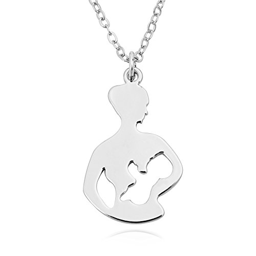 SENFAI 10k Gold Plating Breastfeeding Necklace Mom and Her Baby Pendant Necklace (Silver)