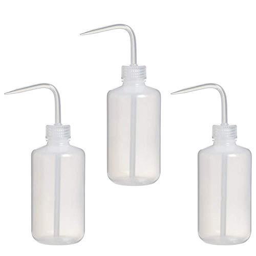 Yban - Lote de 3 botellas flexibles con pipeta estrecha de 500 ml, frascos de lavado de plástico para esqueeze, apertura estrecha, botella de riego, para plantas