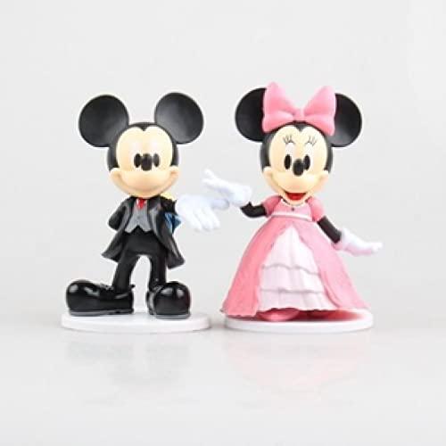 2Pcs/Set Minnie Mickey Mouse Wedding Party Decoration Pvc Action Figure Mini Model Toys Kids Gifts 12Cm