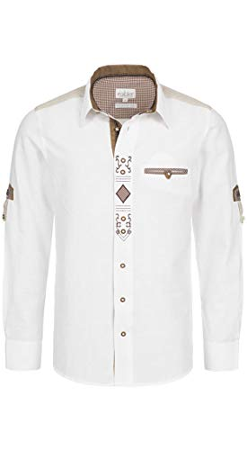 Nübler Trachtenhemd Rufus Langarm Weiß Landhaus-Stil, Kurzarm, Langarm, Regular-Fit, 100% Baumwolle Weiß Gr. XL