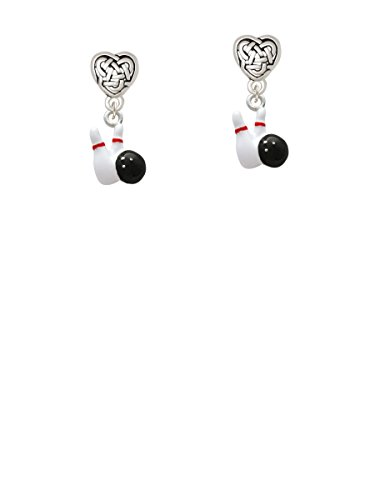 Bowling Pins with Bowling Ball - Celtic Heart Earrings
