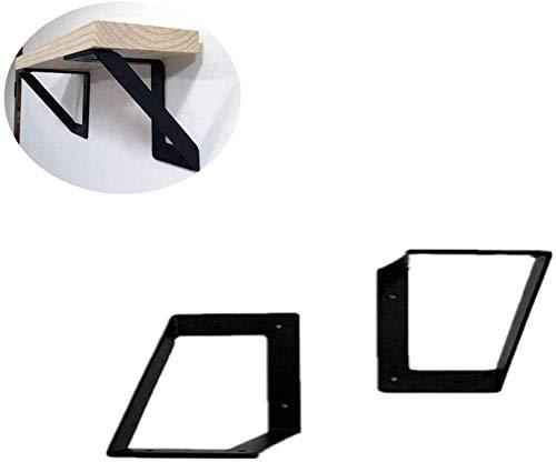 DX Shelf ondersteuning, dikke driehoekige zware metalen industriële wandplank, decoratieve hoek van hoog en koolstofarm staal, 2 stuks, zwarte trompet