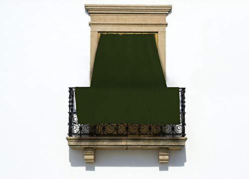 Co.Ingros.Tex Toldo de Cortina corredera para Exteriores, con Anillas,Color Verde (Liso), 145נ250cm