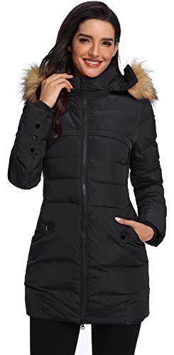 Obosoyo Women's Down Coat Hooded Thickened Long Down Jacket Winter Down Parka Puffer Jacket Black L