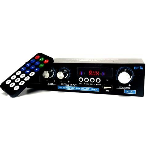 Bluetooth 5.0 Amplificador, Audio Estéreo Amplificador, 2 Canales Mini Hi-Fi Digital Amperio Integrado para los Altavoces del hogar 100W x2, Radio FM, SD/USB para PC, Móvil, TV