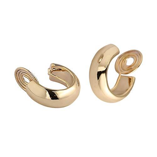 SALAN Vintage Golden Minimalista C Forma Clip en Pendientes de aro Pendientes Lindos no Perforados para Mujeres Regalo de joyería de Tendencia