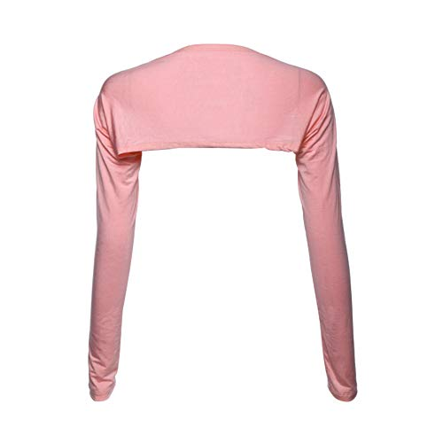 Daytwork Clothing Women Cardigans - Womens Islamic Muslim Bolero Shrug Long Sleeved Cover Arm Tops Shoulder Sleeve Shawl Wild Fashion Party Dress Light Pink