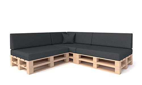 Pillows24 Palettenkissen 8-teiliges Set | Palettenauflage Polster für Europaletten | Hochwertige Palettenpolster | Palettensofa Indoor & Outdoor | Erhältlich Made in EU | Graphit - 2
