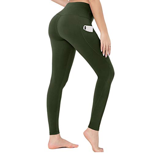 HIGHDAYS High Waisted Yoga Pants for Women - Soft Tummy Control Leggings with Pockets for Workout Running (Olive, Medium)