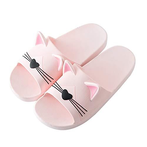 Minetom Unisex Badeschuhe Flip Flop Zehentrenner rutschfest Pantoffeln Sandalen Badezimmer Flache Süße Katze Strand Home Slippers für Herren Damen Rosa 37/38 EU