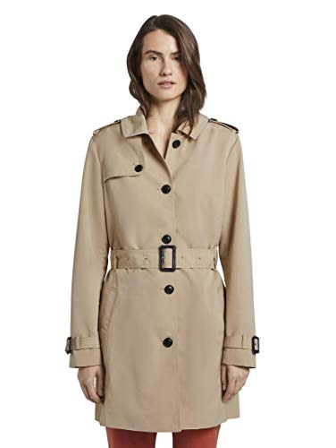 TOM TAILOR Damen Jacken Wasserabweisender Trenchcoat Cream Toffee,M