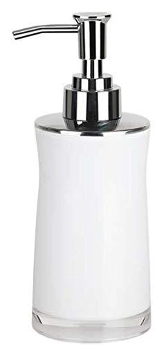 Spirella Seifenspender Sydney | mit Edelstahlpumpe | Flüssigseifen-Spender | Acryl | 200ml | Langliebig und Robust | Weiß