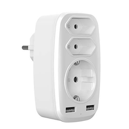 5-in-1 Steckdosenadapter mit 2 USB Anschluss,Evershop 3 Fach Mehrfachsteckdose (4000W)-2XEuro+1 AC Steckdose mit 2 USB Ladegerät für Haushaltsgerät,iPhone,Smartphone,iPad,Laptop,Elektrische Zahnbürste