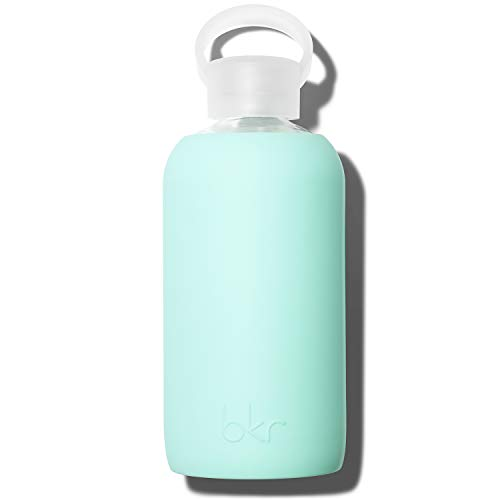 bkr Glass Water Bottle - Luxury BPA Free Water Bottle, Smooth Silicone Sleeve - Pepper - Opaque Sweet Peppermint Green - gift ideas for pregnant woman with morning sickness