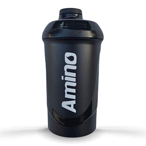 Amino Sports Nutrition Supplement & Protein shaker drinks bottle 600ml with screw top 100% LEAK PROOF (Black on Black)