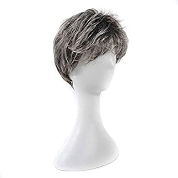 Wig Wigs Wigs Men s Middle-Aged Dad Short Straight Hair Performance Props Wig Show White Flower White Grandfather Father Old Man Headgear