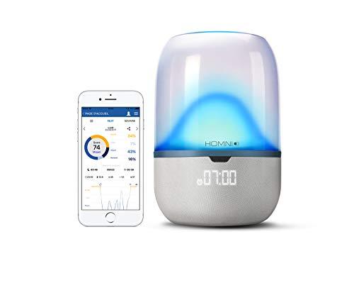 Terraillon Verbindbare Nachttischlampe, Zur Schlaf-Analyse mit Dot Sensor, Mit Einschlaf- und Aufwach-Hilfe, Für Smartphone/Tablet, Mit Lautsprecher, Bluetooth Smart, Homni