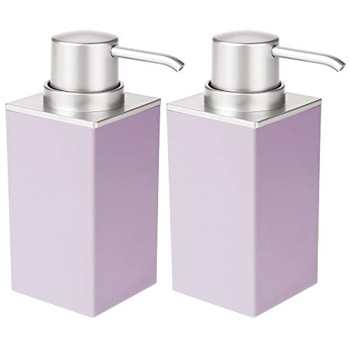 mDesign Modern Square Plastic Refillable Liquid Soap Dispenser Pump for Bathroom Vanity Countertop, Kitchen Sink - Holds Hand Soap, Dish Soap, Hand Sanitizer, Essential Oil - 2 Pack - Purple/Brushed