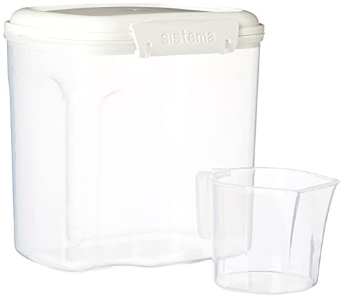 Sistema Bake IT Sugar Storage Container with Measuring Cup, 10.2 cup/2.4L, Clear/White