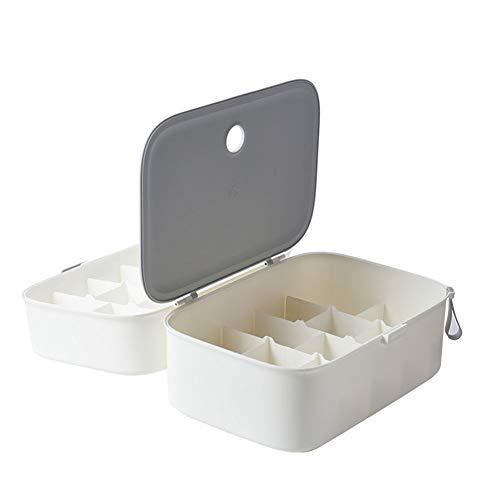 Plastic opbergdoos, huishoudens, met deksel, Bra Box Ondergoed Panty Sokken, gebruikt voor Family Travel kledingkast, twee kleuren,24 grids in white