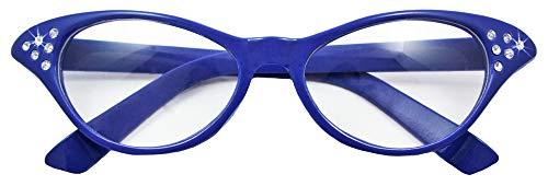 Das Kostümland Gafas de ojo de gato de los años cincuenta Diamante - Accesorios Disfraz Fiesta 50s 60s (azul)