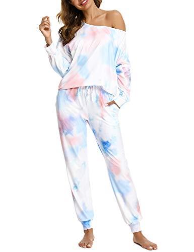 Aibrou Schlafanzug Damen Pyjama Set, Langarm Nachtwäsche Tie Dye Zweiteilige Eine Schulter Sleepwear und Pyjamahose mit Taschen Loungewear Hausanzug
