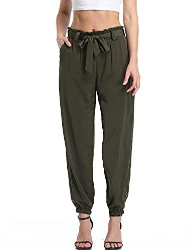 Dilgul Pantalones Mujer Casual Cintura Alta Verano Baggy Cordón Pantalon de Chándal...
