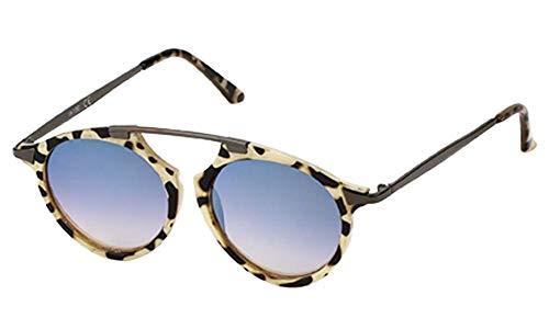 Chic-Net Sonnenbrille Retro Vintage Panto Brille 400 UV Metall Zwicker Form Bügel beige