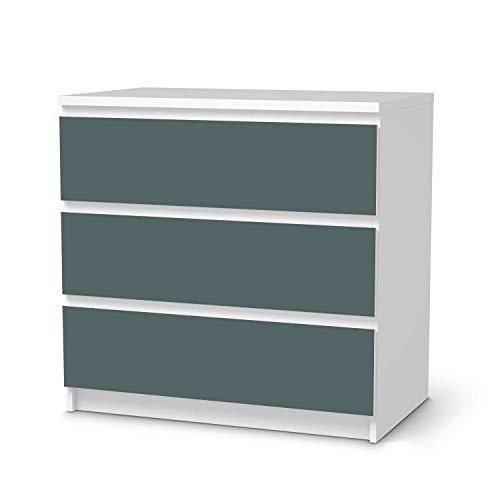 creatisto Möbelfolie selbstklebend passend für IKEA Malm Kommode 3 Schubladen I Möbelaufkleber - Möbel-Sticker Aufkleber Folie I Deko Wohnung für Schlafzimmer und Wohnzimmer - Design: Blaugrau Light