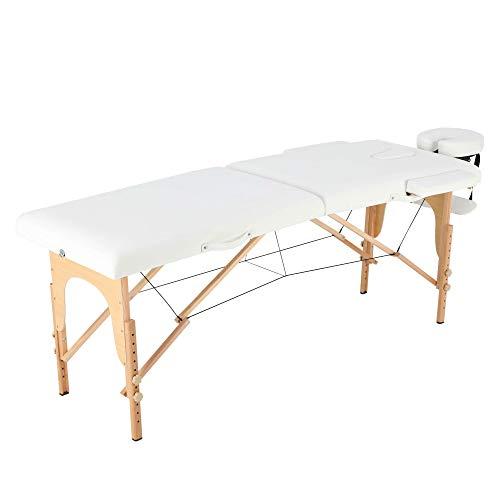 Jalano Massage Liege 2-Zonen Therapie Massagetisch Holz Seitenarmlehne Hängende Armlehne Höhenverstellbar Klappbar Tasche (Weiß)