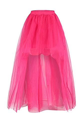 Babyonlinedress® Damen Rock Vorne Kurz Hinten Lang Tüllrock Underskirt Petticoat Kanerval Rock Cocktailrock Rosa