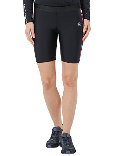 Ultrasport Quick Dry Pantalones Cortos de Correr, Mujer, Negro/Rosa Neón, L