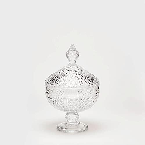 Jarrón de cristal Copa con tapa H25x d15cm Natural