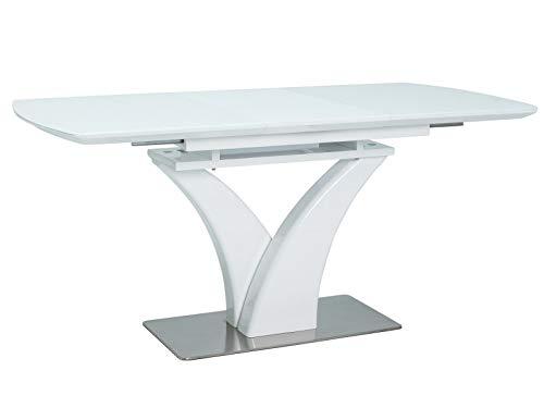 MHF Faro - Mesa extensible (120 - 160 x 80 cm), color blanco